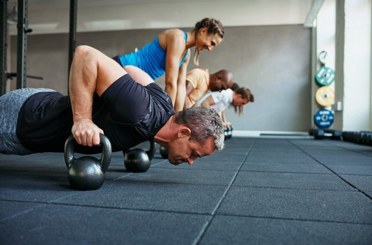 Group Fitness Class Doing Modified Pushups   Colorado Athletic Club - DTC