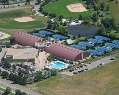 Aerial View of Colorado Athletic Club - Inverness | Ourdoor Pools and Tennis Courts