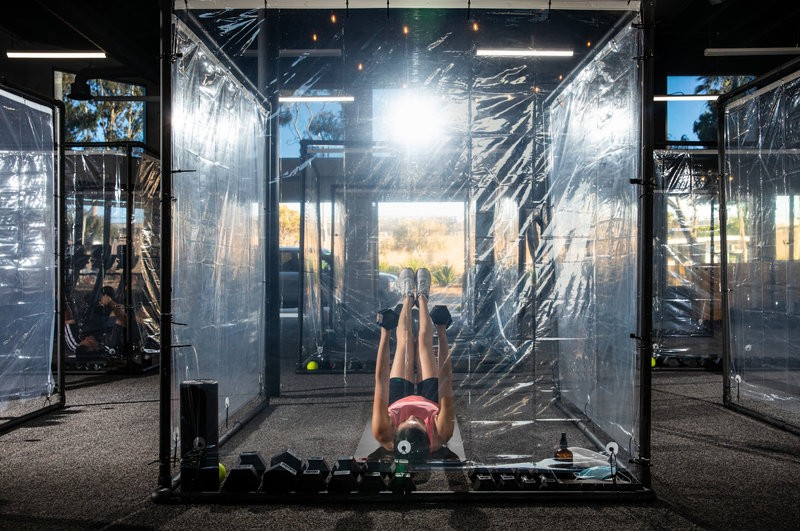 A gym in Redondo Beach, CA created workout pods with shower curtains and PVC pipes to keep clients distant and safe